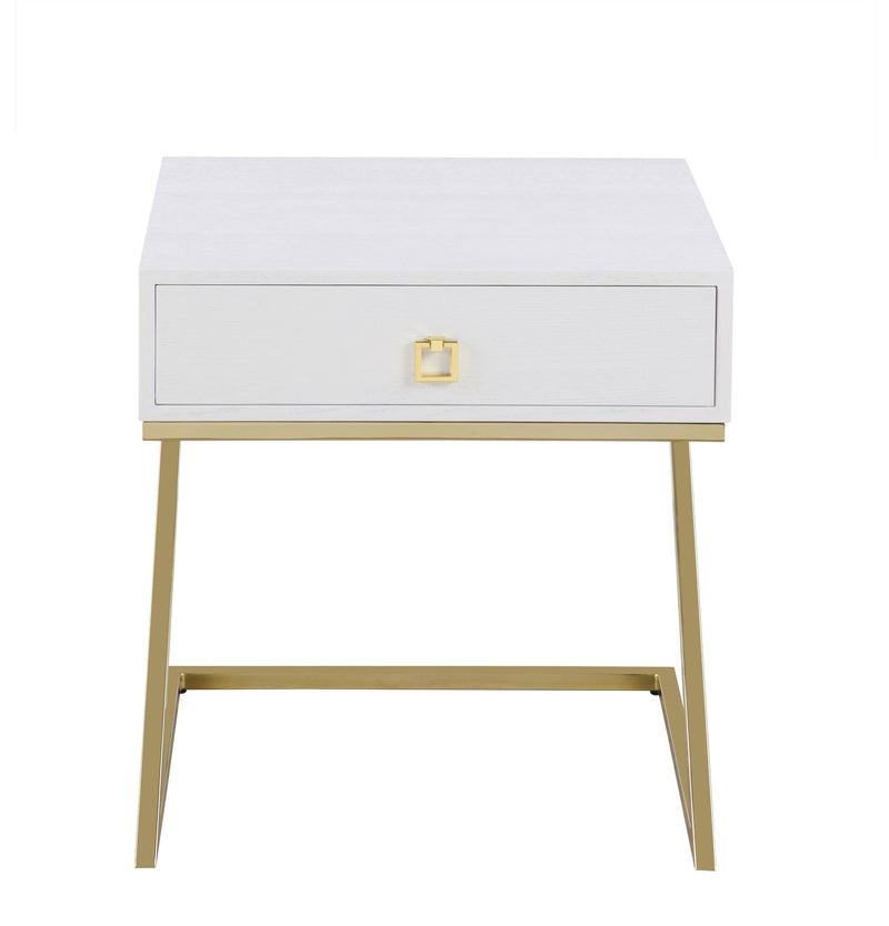 "Iconic Home Cordoba Nightstand Side Table Self Closing Drawer Brass Finished Metal ""Z"" Frame White"