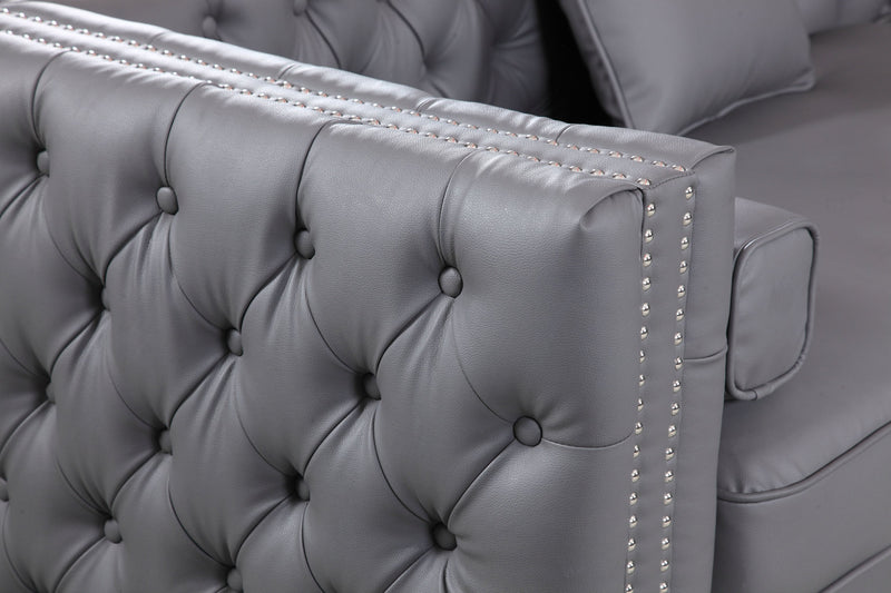 Iconic Home Da Vinci Button Tufted PU Leather Right Facing Chaise Sectional Sofa Grey