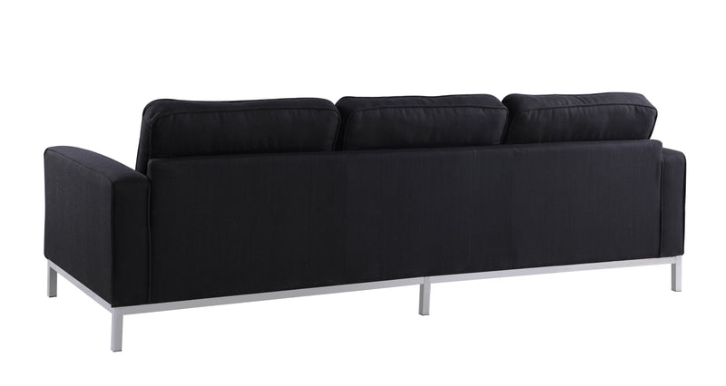Iconic Home Draper Sofa Three Seat Linen Upholstered Button Tufted Silvertone Metal Legs Black