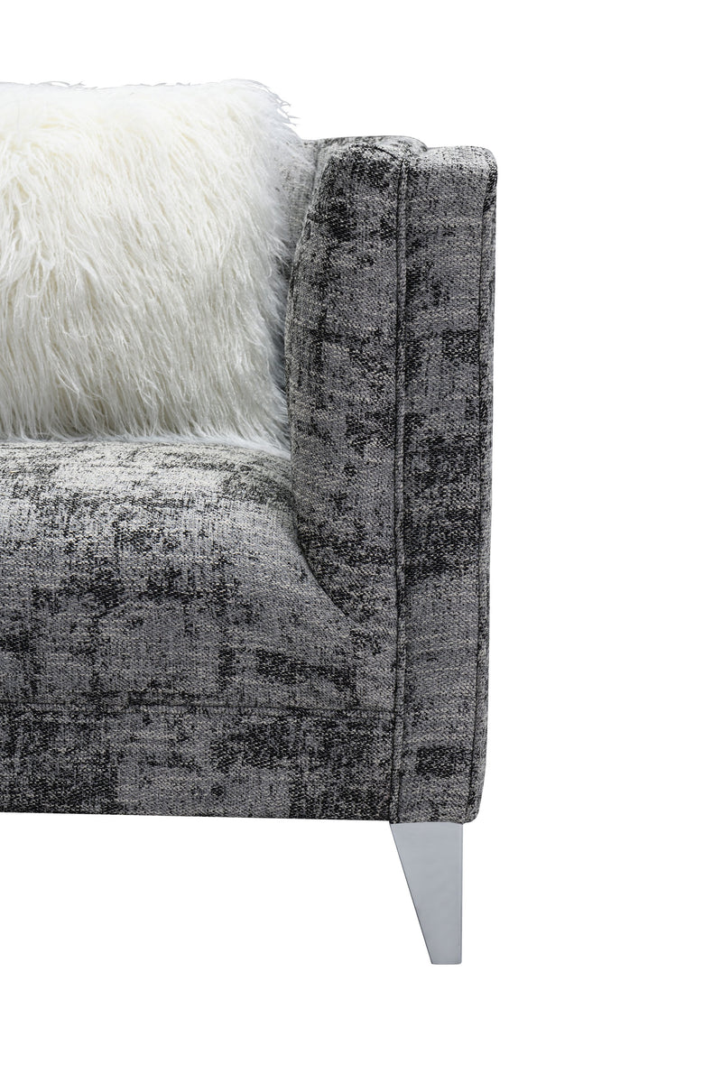 Iconic Home Montmarte Accent Chair Textured Fabric Channel-Quilted Silvertone Metal Legs Black