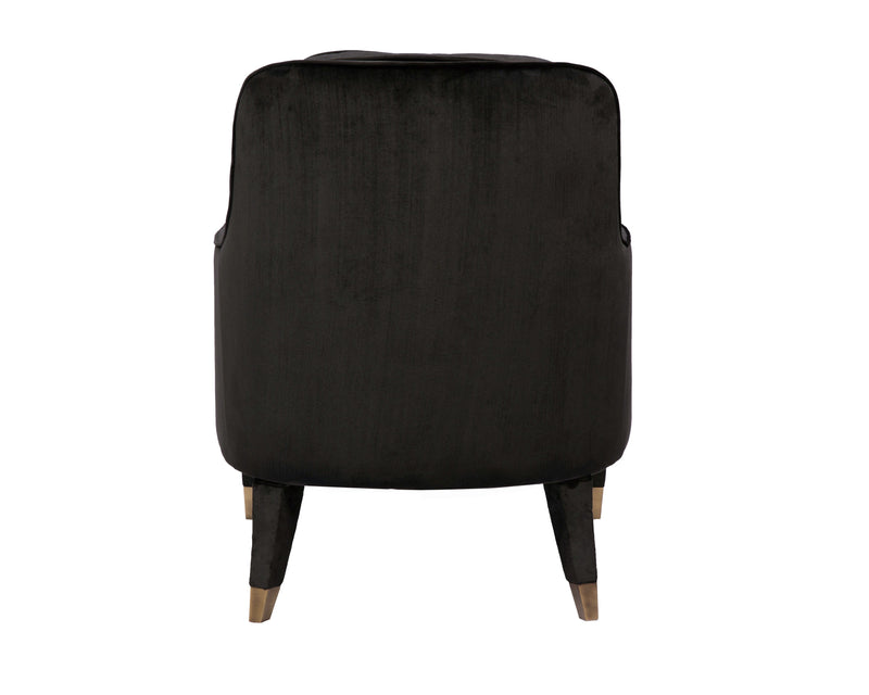 Iconic Home Tzivia Accent Club Chair Sleek Velvet Upholstered Plush Cushion Brass Tip Legs Black