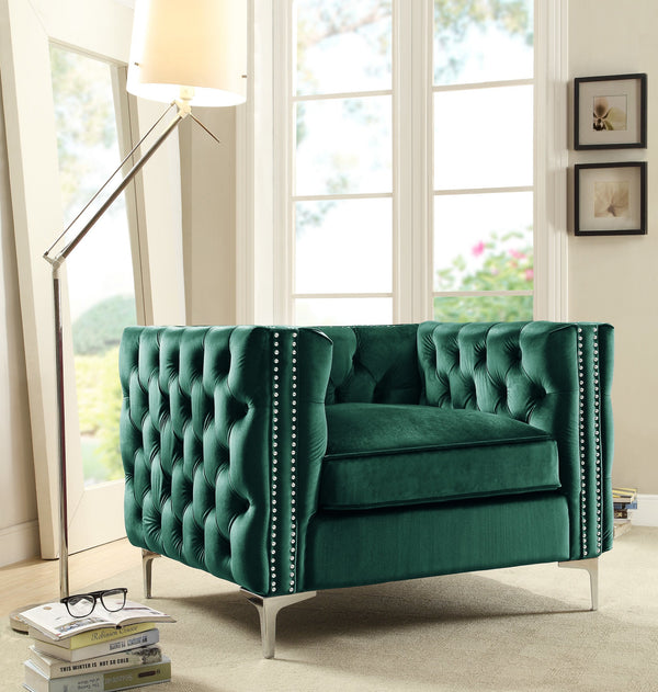Iconic Home Da Vinci Michelangelo Picasso Monet Bosch Button Tufted Velvet Upholstered Nail Head Trim Accent Club Chair Green Main Image