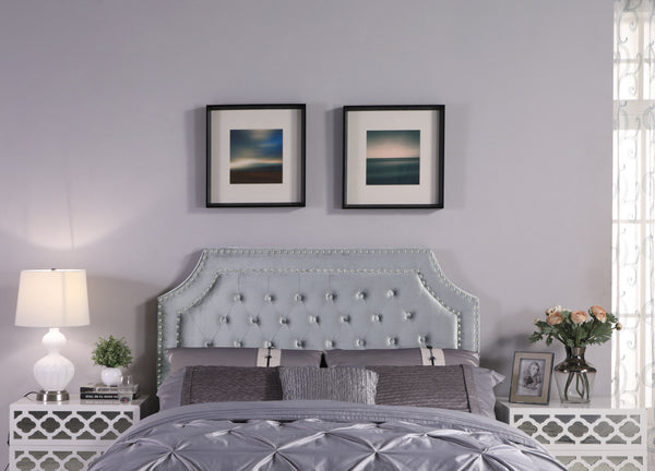 Iconic Home Chava Bacchus Horus Leda Argus, Headboard Button Tufted Velvet Upholstered Double Row Nailhead Trim Grey Main Image