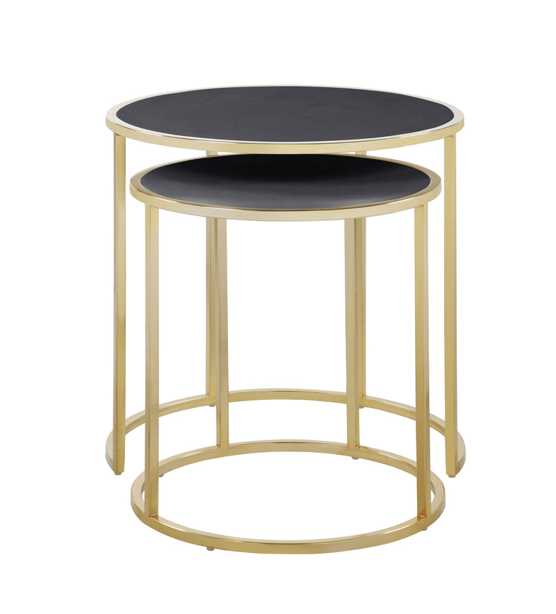 Iconic Home Tuscany Nesting Table 2 Piece PU Leather Top Gibbous Moon Gold Solid Metal Frame Black