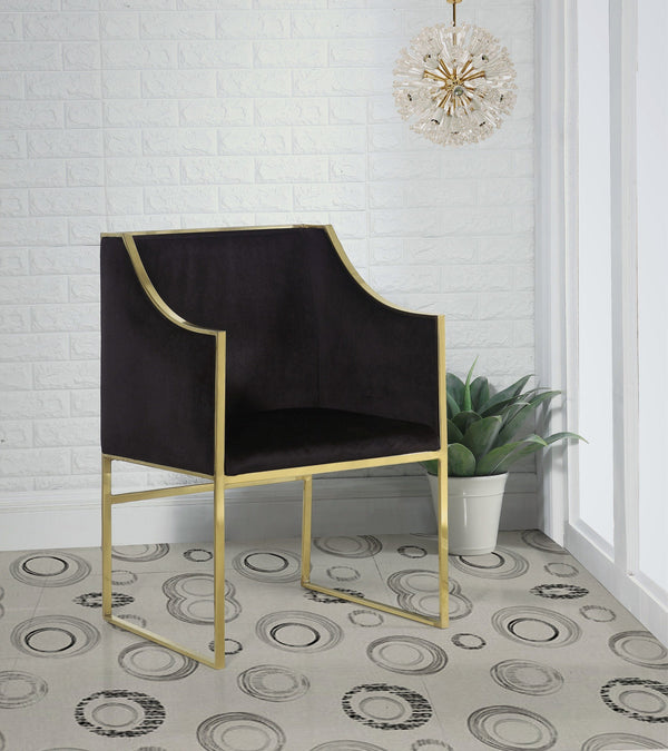 Iconic Home Rowan Declan Aidan Homer Franco Accent Club Chair Velvet Upholstered Brass Finished Stainless Steel Frame Black Main Image