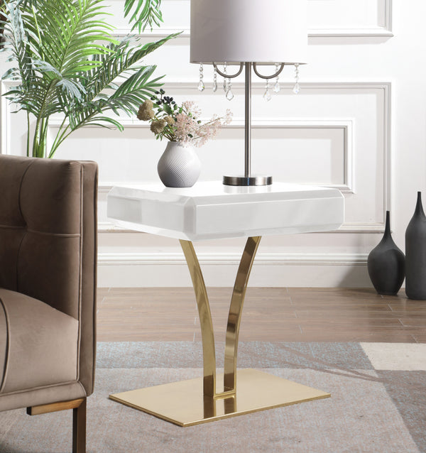 Iconic Home Rochelle Tanisha Jannah Courtney Shenae, Side Table Nightstand Gold Plated Solid Metal Stem Base Self Close Drawer White Main Image