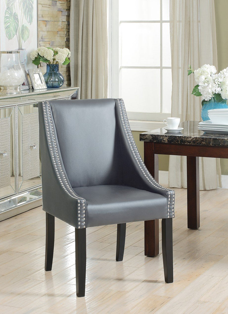 Iconic Home Lincoln Washington Jefferson Hayes Taft Dining Side Chair PU Leather Upholstery Nailhead Trim Wood Legs Grey (Set of 2) Main Image