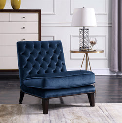 Iconic Home Achilles Nestor Priam Hector Paris Armless Velvet Tufted Slipper Accent Club Chair Navy Main Image