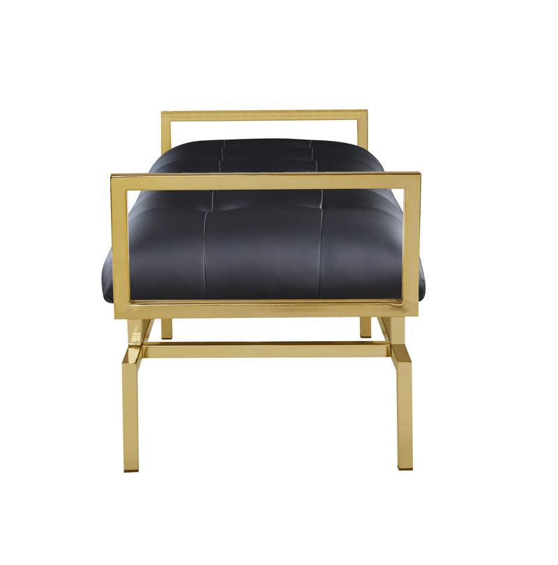 Iconic Home Bruno Bench Gold Tone Architectural Frame PU Leather Upholstered Tufted Ottoman Black