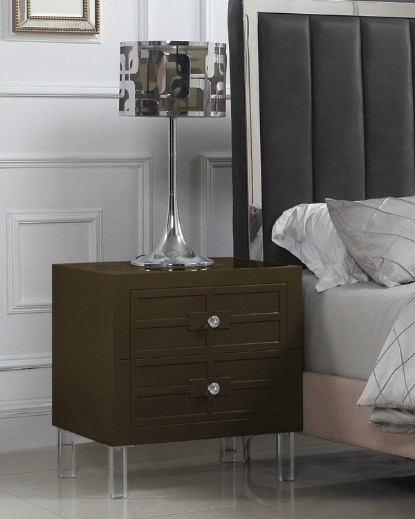 Iconic Home Naples Pompeii Assisi Lucca Amalfi Side Table Nightstand Self Closing Drawers Lacquer Finish Acrylic Legs Brown Main Image