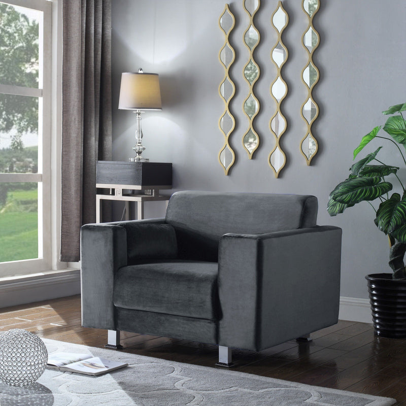 Iconic Home Amarillo Larry Adda Nancy Barbara Sleek Velvet Plush Accent Club Chair Grey Main Image