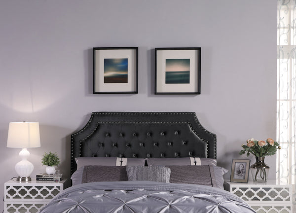 Iconic Home Chava Bacchus Horus Leda Argus, Headboard Button Tufted Velvet Upholstered Double Row Nailhead Trim Black Main Image