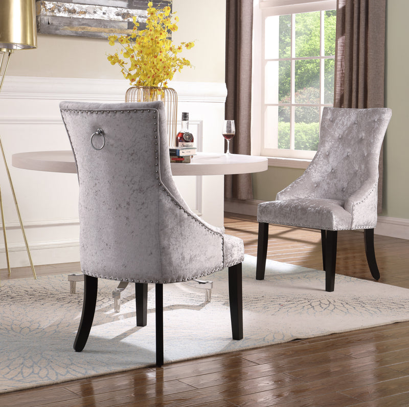 Iconic Home Raizel Rakel Rahel Raziela Racquel Dining Chair Velvet Upholstered Nail Head Trim Espresso Wood Legs Grey Set of 2 Main Image