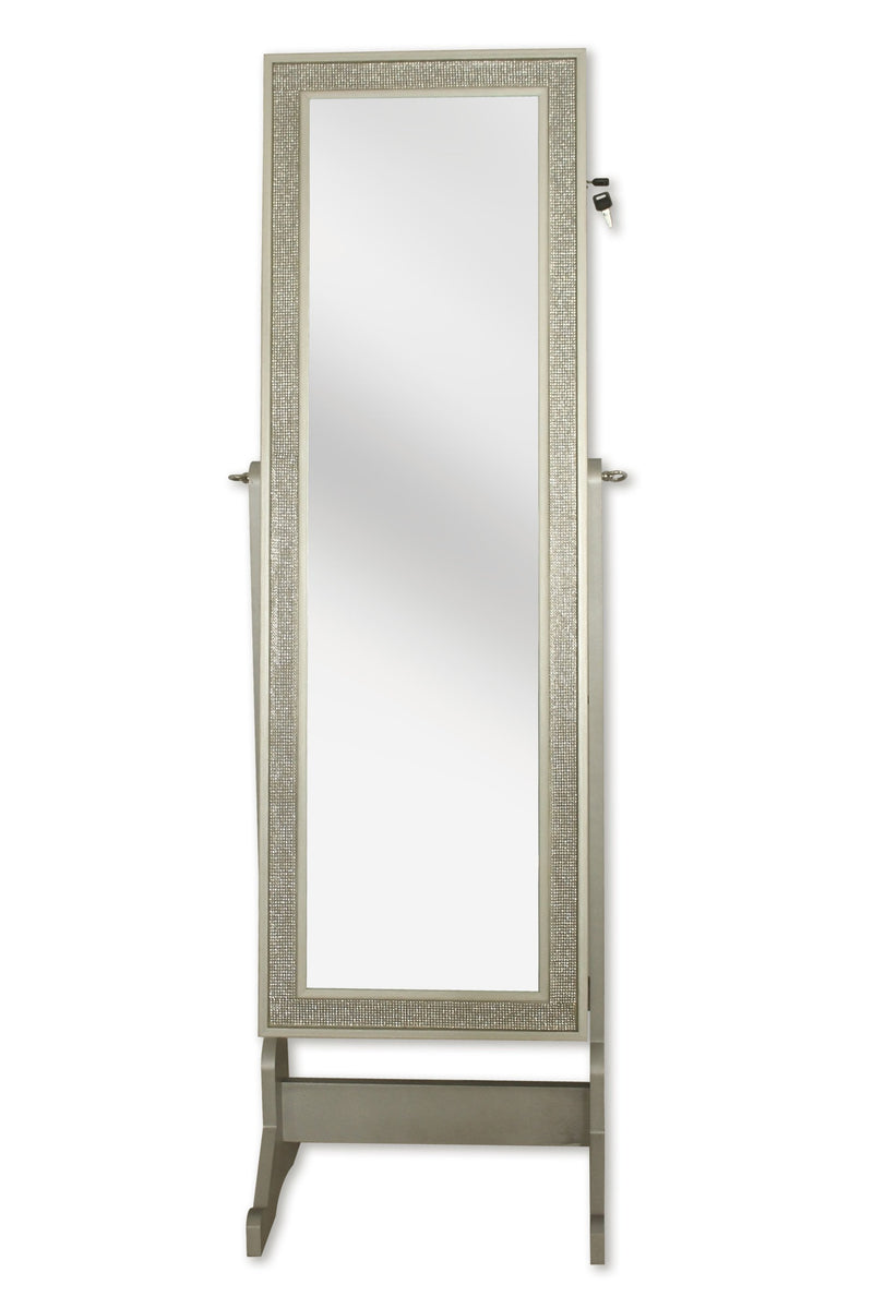 Iconic Home Glitzy Crystal Border Jewelry Storage Armoire Full Length Cheval Mirror Champagne