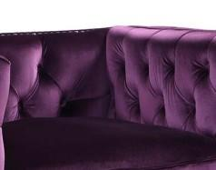 Iconic Home Da Vinci Button Tufted Velvet Upholstered Nail Head Trim Accent Club Chair Purple