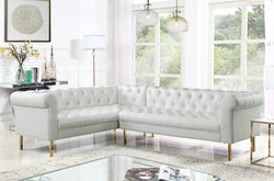Iconic Home Giovanni Dominic Mateo Julian Noah Left Facing Sectional Sofa L Shape PU Leather Upholstered Gold Tone Legs Cream Main Image