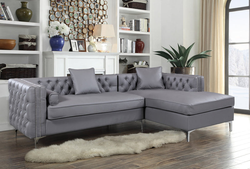 Iconic Home Da Vinci Michelangelo Picasso Monet Bosch Button Tufted PU Leather Right Facing Chaise Sectional Sofa Grey Main Image
