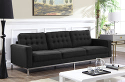 Iconic Home Draper Mayer Tucker Sterling Olson Sofa Three Seat Linen Upholstered Button Tufted Silvertone Metal Legs Black Main Image