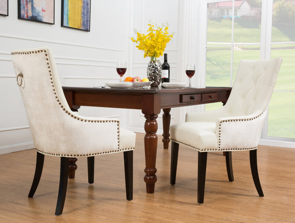 Iconic Home Cadence Linus Gideon Gilbert Renaud Button Tufted PU Leather Velvet Nailhead Trim Espresso Wood Legs Dining Side Chair (Set of 2) White Main Image