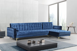 Iconic Home Amandal Aziz Gerwyn Kiefer Darwood Right Facing Sectional Sofa Sleeper Bed Velvet Upholstered Goldtone Y-Leg Navy Main Image