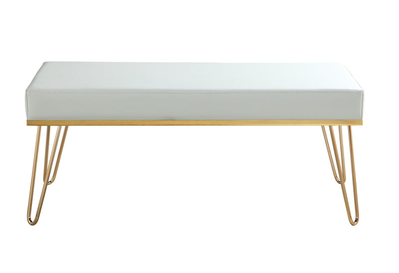 Iconic Home Aldo Bench PU Leather Upholstered Brass Finished Solid Metal Frame Hairpin Legs Grey