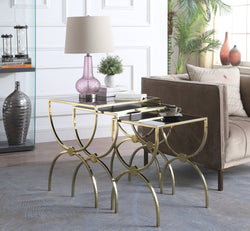 Iconic Home Palma Parri Pallie Palyn Paulinka Nesting Table 3 Piece Black Glass Top Hourglass Solid Metal Frame Gold Main Image