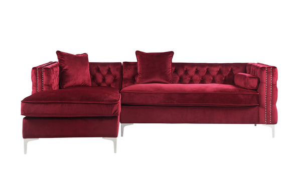Iconic Home Da Vinci Button Tufted Velvet Left Facing Chaise Sectional Sofa Red