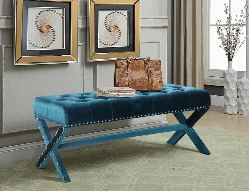 Iconic Home Neil Buzz Shepard Bentley Regan X Frame Nailhead Trim Velvet Tufted Ottoman Bench Green Main Image