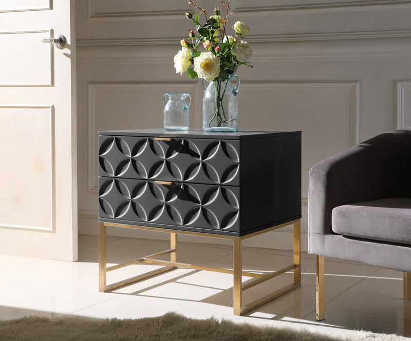 Iconic Home Mantau Nate Lyon Albi Jenica Side Table Nightstand Lacquer Finish Solid Gold Tone Metal Frame Black Main Image