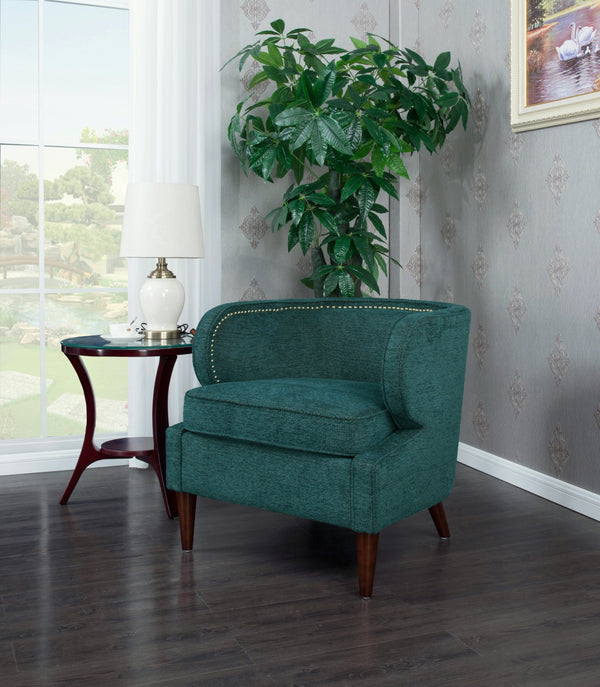 Iconic Home Vered Ymir Vlad Orlando Ezra Accent Club Chair Chenille Upholstered Nailhead Trim Wood Cone Legs Teal Main Image