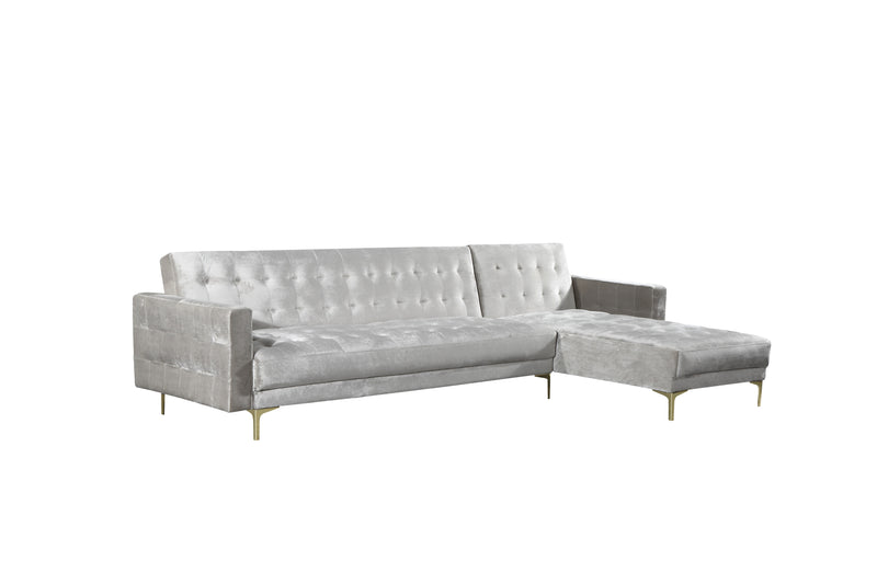 Iconic Home Amandal Right Facing Sectional Sofa Sleeper Bed Velvet Upholstered Goldtone Y-Leg Silver