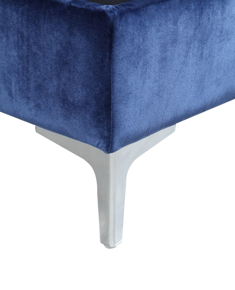 Iconic Home Guinevere Storage Ottoman Sleek Velvet Upholstered Silvertone Metal Y Leg Bench Navy