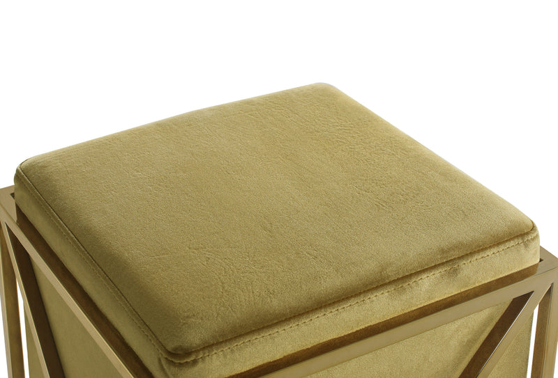 Iconic Home Vana Square Ottoman Velvet Upholstered Brass Finished Stainless Steel X Frame Cognac