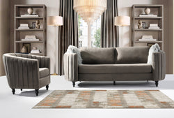 Iconic Home Riviera Conway Orrin Guadalupe Avon Sofa Velvet Upholstered Channel Quilted Espresso Finished Wood Legs Grey Main Image