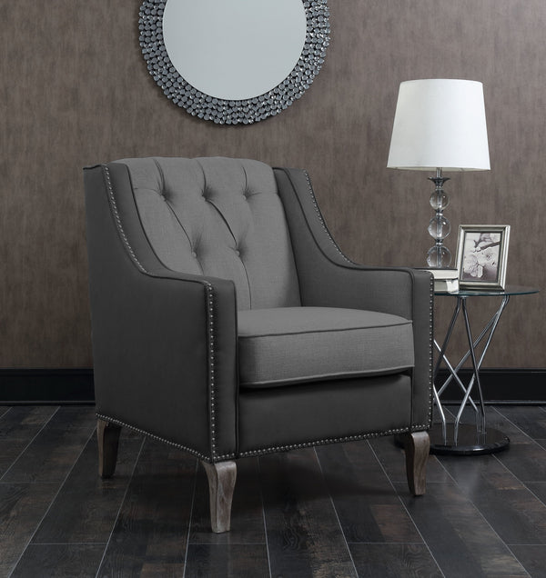 Iconic Home Ethan Jayden Riley Kris Haymish Accent Club Chair Linen PU Leather Upholstered Button Tufted Nailhead Trim Carved Wood Legs Black Main Image