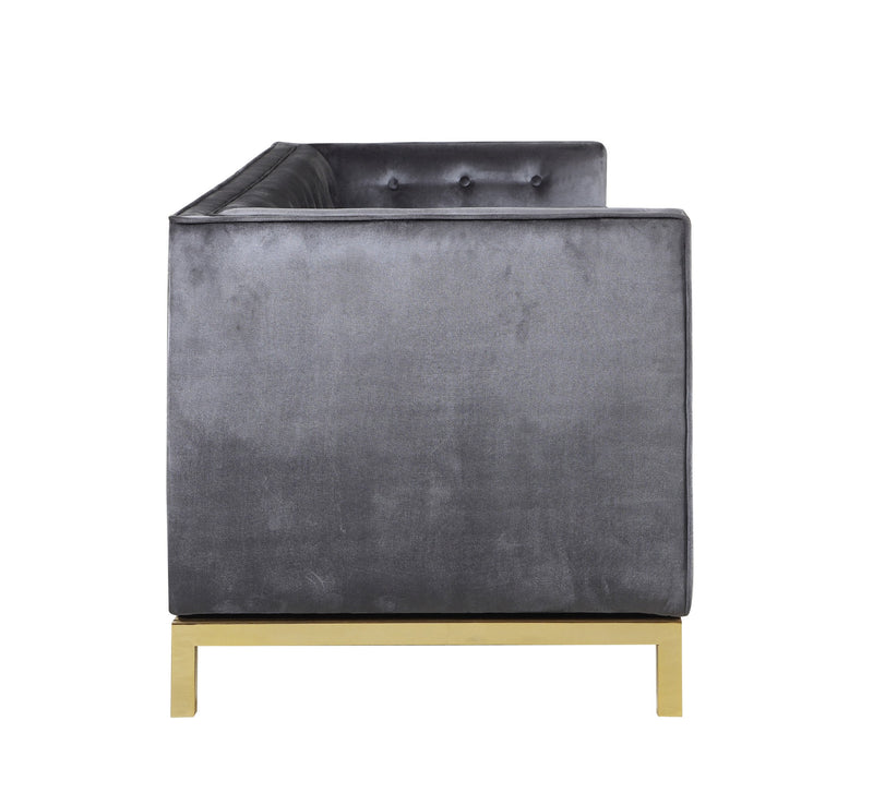 Iconic Home Dafna Club Sofa Tufted Velvet Brass Finished Stainless Steel Brushed Metal Frame Grey
