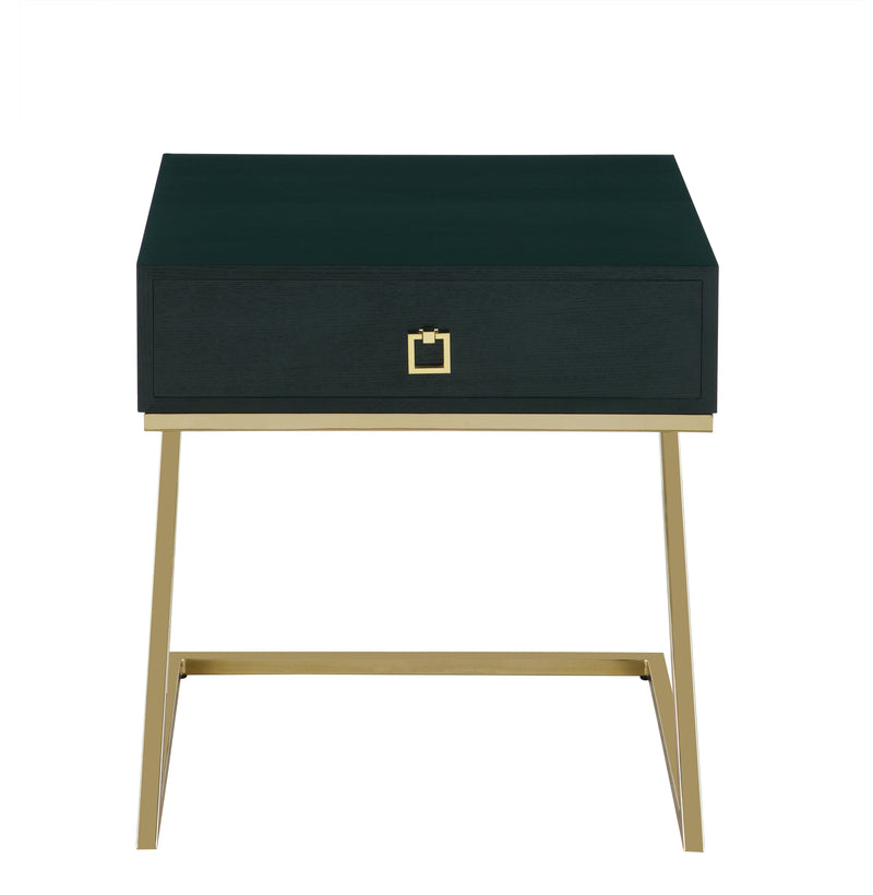 "Iconic Home Cordoba Nightstand Side Table Self Closing Drawer Brass Finished Metal ""Z"" Frame Green"