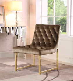 Iconic Home Moriah Esfir Katya Tatiana Sarina Accent Chair Button Tufted Velvet Upholstered Brass Finished Metal Frame Taupe Main Image