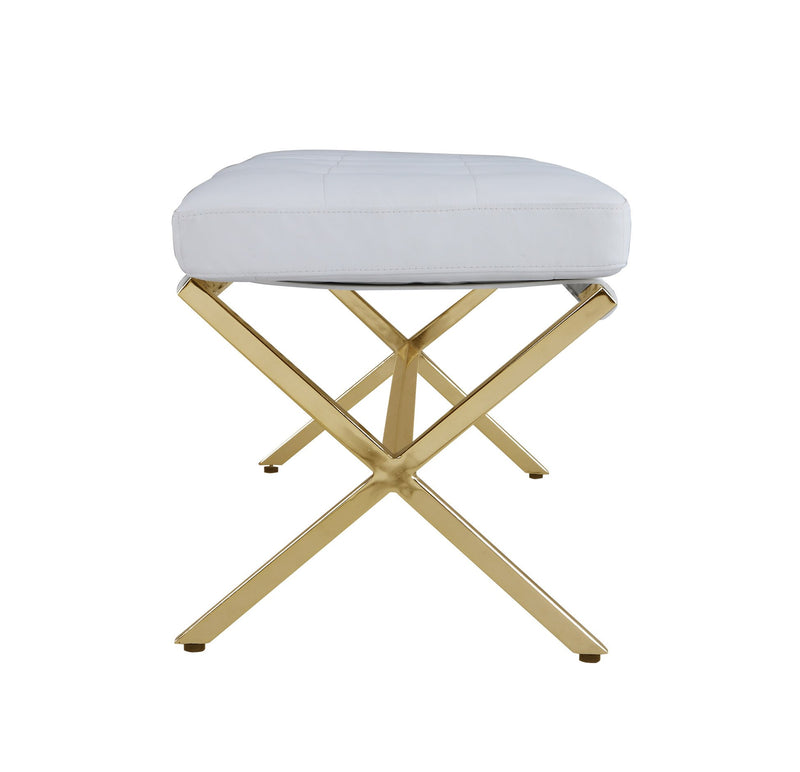 Iconic Home Claudio Bench Gold Tone X Frame PU Leather Upholstered Tufted Ottoman White