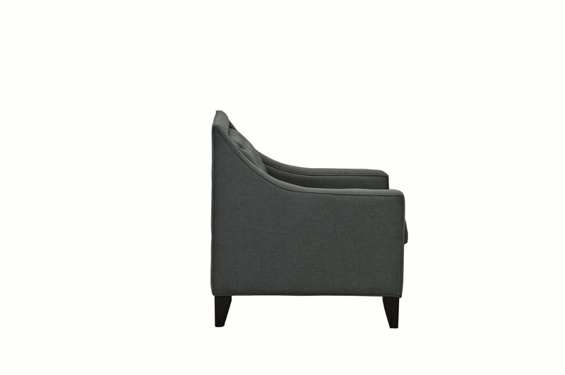 Iconic Home Aberdeen Linen Tufted Accent Club Chair Grey