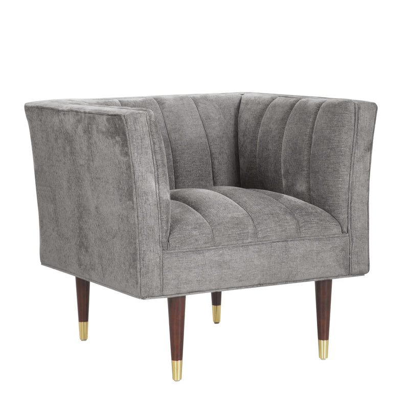 Iconic Home Agatha Clam Shell Linen Textured Accent Club Chair Grey