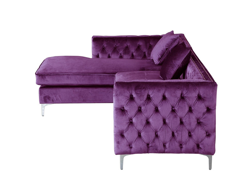 Iconic Home Da Vinci Button Tufted Velvet Left Facing Chaise Sectional Sofa Purple