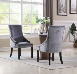 Iconic Home Machla Yeva Vinnitsa Moishe Frida Dining Chair Button Tufted Velvet Upholstered Nailhead Trim Wood Legs Grey Main Image