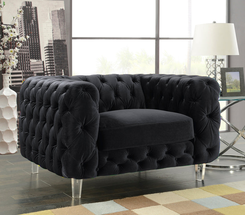 Iconic Home Syracus Castor Phobos Apollo Morgan Tufted Velvet Plush Accent Club Chair Black Main Image
