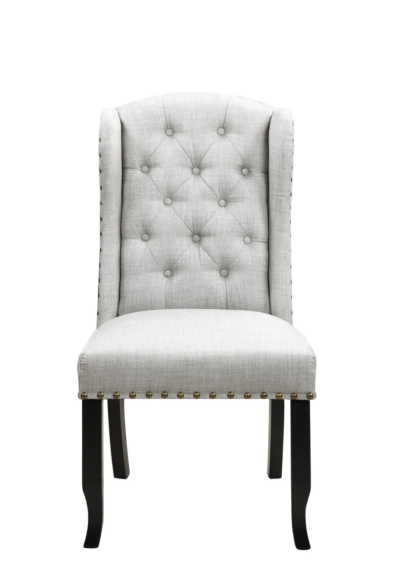 Iconic Home Shira Wingback Dining Chair Faux Linen Upholstery Nailhead Trim Wood Legs Grey Set of 2
