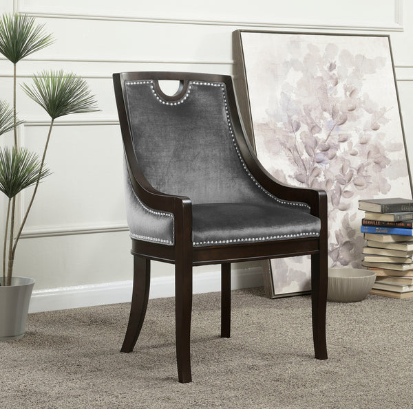 Iconic Home Owen Elijah Benjamin June Oscar Dining Side Chair Velvet Upholstered Nailhead Trim Espresso Wood Frame Legs (Set of 1) Grey Main Image