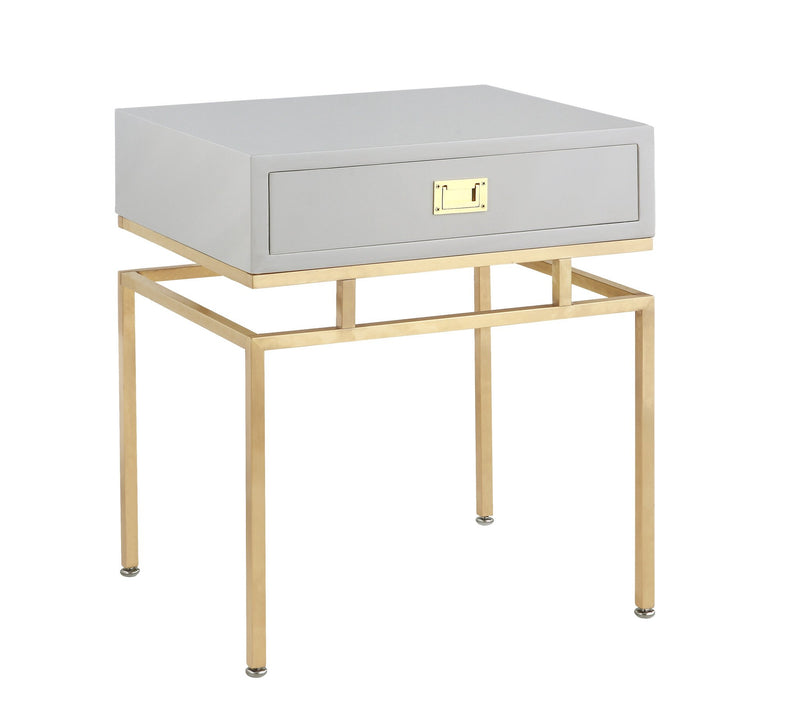 Iconic Home Genoa Side Table Nightstand Brass Base Solid Frame Self Close Drawer Grey