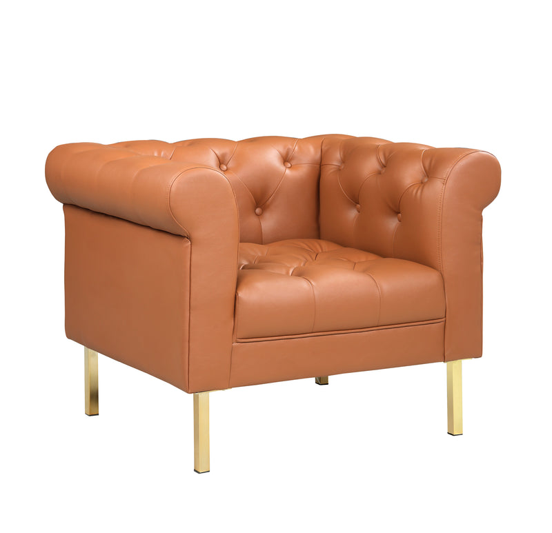 Iconic Home Giovanni Club Chair PU Leather Upholstered Button Tufted Gold Tone Metal Legs Camel