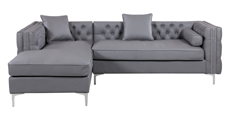 Iconic Home Da Vinci Button Tufted PU Leather Left Facing Chaise Sectional Sofa Grey