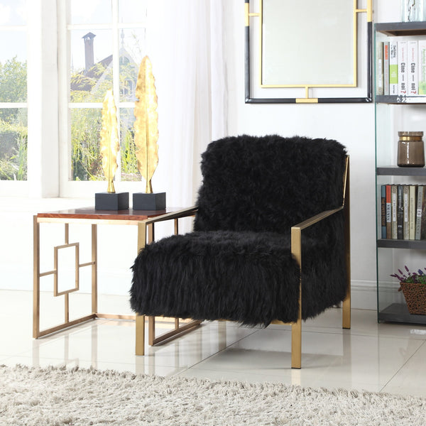 Iconic Home Bayla Gala Masha Raisa Katrina Accent Club Chair Faux Fur Upholstered Brass Finished Stainless Steel Frame Black Main Image
